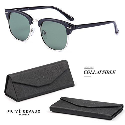 "c9c3503a3b PRIVE REVAUX ""The Chairman"" Handcrafted Designer Brownline Sunglasses"