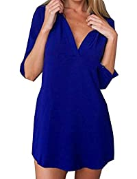HMX Women's Casual V Neck Loose Long Roll Sleeve Top T-shirt