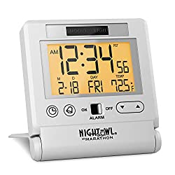 Marathon CL030036WH Atomic Travel Alarm Clock with Auto Night Light Feature in White, Batteries Included