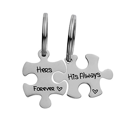 Day His and Hers Puzzle Piece Pendant Necklace/Keychain Set Personalized Couples Stainless Steel Hand Stamped Gift Jewelry Chain/Keyring (His Always & Hers Forever (Keychain)) ()