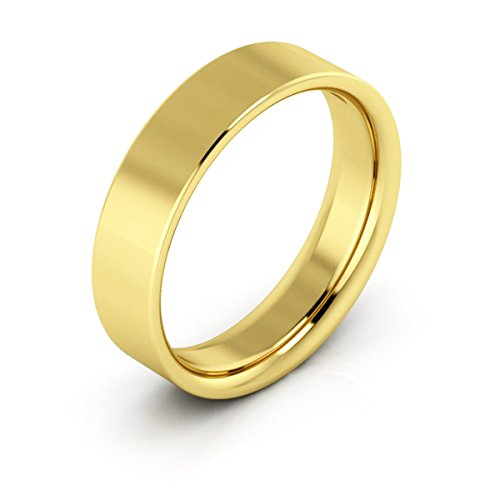 18K Yellow Gold men's and women's plain wedding bands 5mm flat comfort fit, 6.5 by i Wedding Band