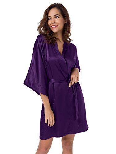Raso XXL Kimono Pigiama Kimono Vestaglia Melanzana XS Accappatoio Sleepwear SIORO da Donna Pyjamas Notte Bw76wdq