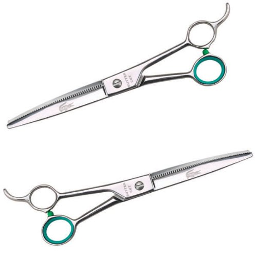 Geib Steel Small Pet 48-Tooth Blending Shears with Crocodile Tri-Fold Case, 8-Inch