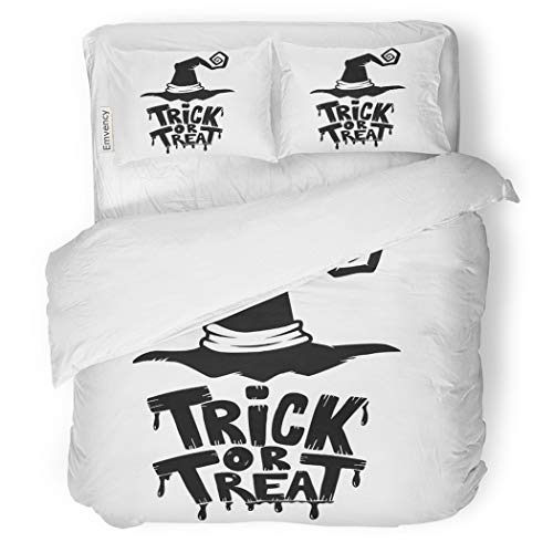 SanChic Duvet Cover Set Halloween Trick Treat Lettering