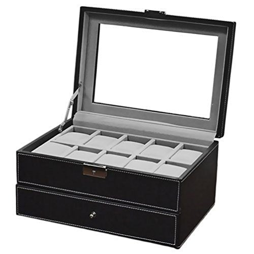 Watch Box Large 20 Mens Black Leather Display Glass Top Jewelry Case - Furniture Old Hickory Leather