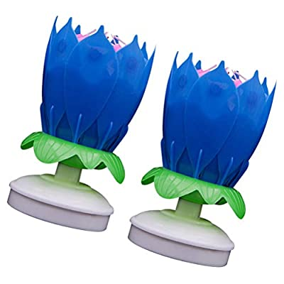 FUNZZY Lotus Candle Light Double Layers Candle Light Musical Wishing Lamp Whirling Candles for Home Birthday 2 Pcs (Blue): Home & Kitchen
