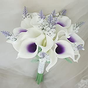 """Lily Garden Mini 15"""" Artificial Calla Lily 16 Stem Flower Bouquets with Ribbon (Purple Center with Lavender) 27"""