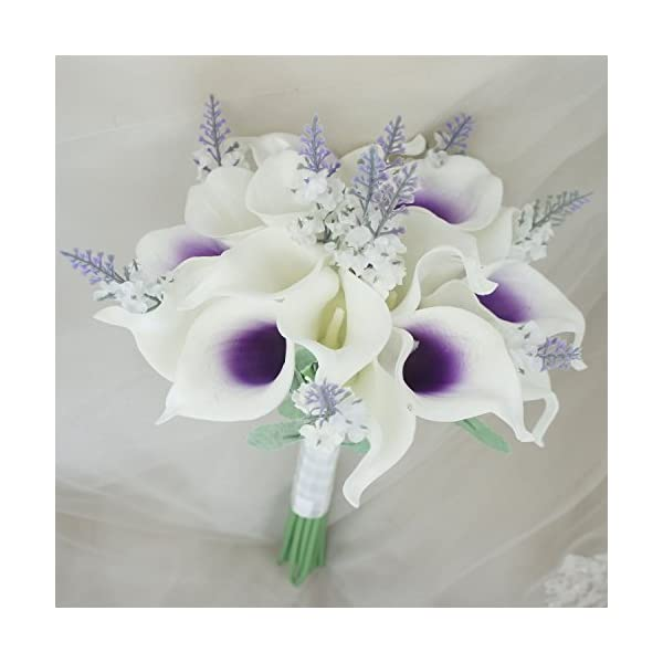 Lily-Garden-Mini-15-Artificial-Calla-Lily-16-Stem-Flower-Bouquets-with-Ribbon-Purple-Center-with-Lavender