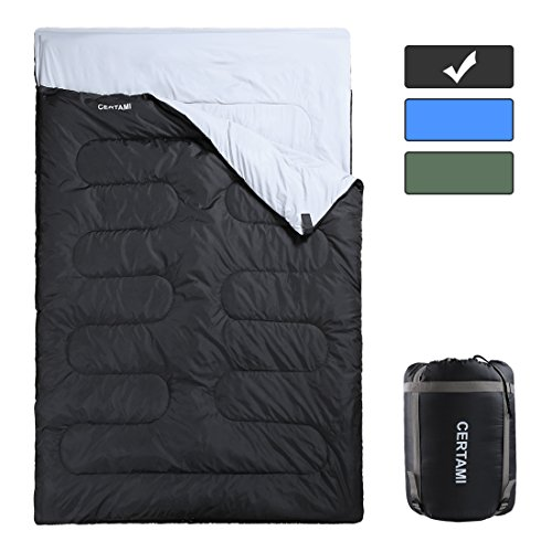 CER TAMI Sleeping Bag for Adults, Girls & Boys, Lightweight Waterproof Compact, Great for 4 Season Warm & Cold Weather, Perfect for Outdoor Backpacking, Camping, Hiking (Dark Grey/Double Zip)