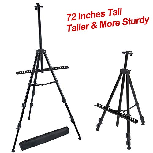 T-Sign 72 Tall Display Easel Stand, Aluminum Metal Tripod Art Easel Adjustable Height from 22-72, Extra Sturdy for Table-Top/Floor Painting, Drawing and Display with Bag, Black