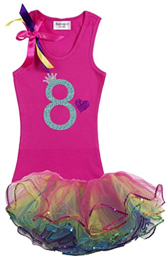 Bubblegum Divas Big Girls' 8th Birthday Rainbow Tutu Outfit 7-8 (Disco Themed Clothes)