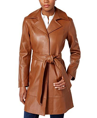 Splenor Notch Collar Women Belted Waist Women Leather Coat (XL) - Coat Leather Belted