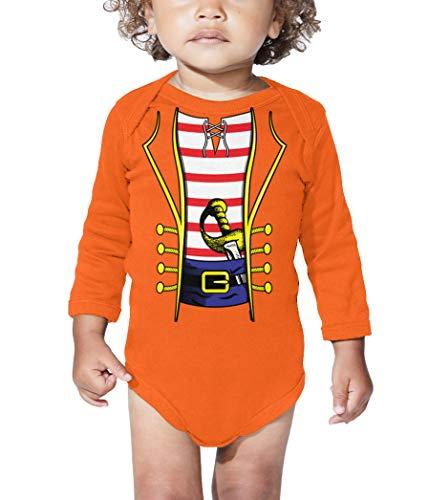 HAASE UNLIMITED Pirate Costume - Swashbuckler Buccaneer Long Sleeve Bodysuit (Orange, Newborn) -
