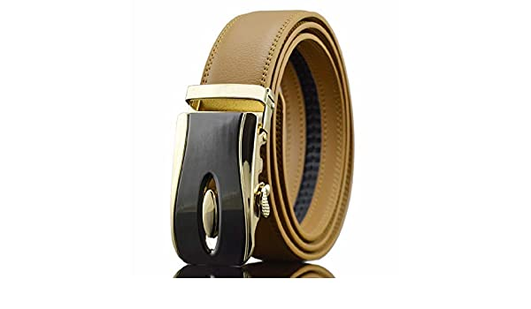 DENGDAI Mens Belt Casual Belt Leather Automatic Buckle Pants Length 100-135cm