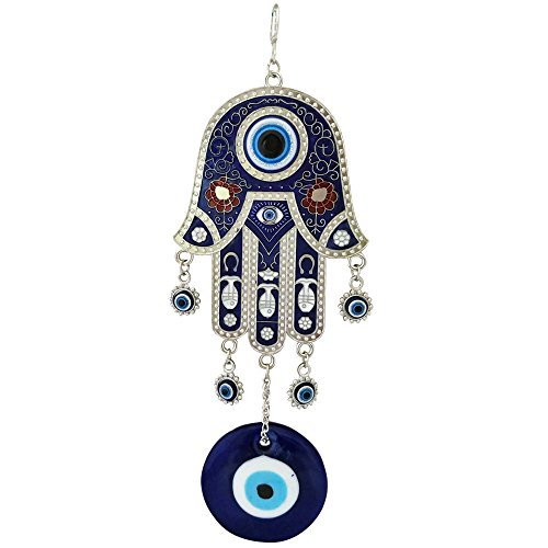 Divya Mantra Feng Shui Turkish Hamsa Hand Buri Nazar Battu Evil Eye Decor Car Rear View Mirror Gift Accessories/Good Luck Charm Protection Interior Decoration Home/Office/Door/Wall Hanging Showpiece