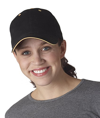 Yupoong mens Brushed Cotton Twill 6-Panel Mid-Profile Sandwich Cap(6262S)-BLACK/ (Panel Mid Profile Sandwich Cap)