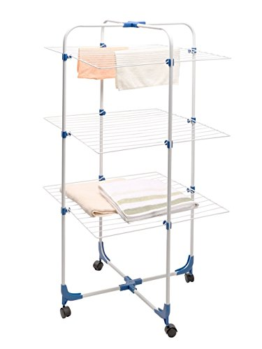 STORAGE MANIAC Indoor/Outdoor Folding Clothes Drying Rack, Rolling Adjustable 3-tier Drying Rack for Laundry