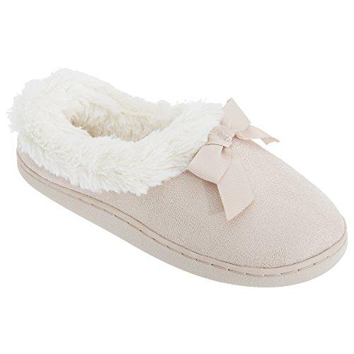 Universal On Fur Womens Faux Bow Ladies Slippers Lining Slip Textiles Beige rwa6qr