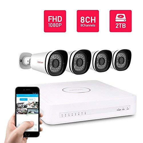 Refurbished Foscam 8CH PoE 1080P Security CCTV, Pre-Installed 2TB HDD, Power Over Ethernet NVR KIT, 4 Full HD 2MP 1080P Indoor/Outdoor IP66 Waterproof Bullet IP Camera, 65FT Night Vision
