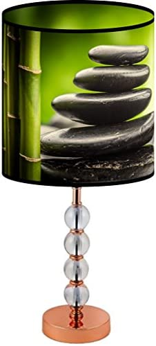 LampPix 22.5 Inch Custom Printed Table Desk Lamp Shade Zen Stacked Stones. Includes Decorative Acrylic Round Stand
