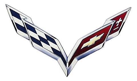 C7 Corvette 2014+ Metal Crossed Flag Logo Sign - Size Options 24 x 16 (Corvette Logo Sign)