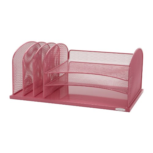 Safco Products 5902PI Onyx Mesh Desktop Organizer with 3 Vertical/3 Horizontal Sections, Pink (Horizontal Paper Trays compare prices)