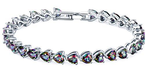 - Silver Elegant Mystic fire Topaz Heart Women Bracelet 7 inches