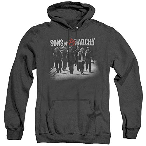 (Sons of Anarchy Unisex Adult Pull-Over Heather Hoodie, 3X-Large Black)