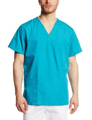 Cherokee Originals Unisex V-neck Scrubs Shirt, Teal Blue, Large