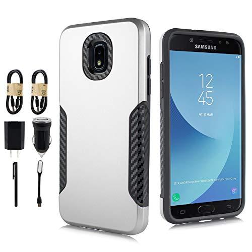 Samsung Galaxy J3 2018, J3V J3 V 3rd Gen,Express Prime 3, J3 Star, J3 Achieve, Amp Prime 3 Case, Carbon Fiber Grids Shield, Hybrid Case Shock Bumper Slim Cover [Value Bundle] (Silver)