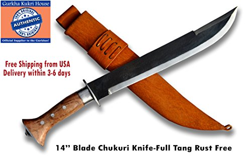 Authentic Gurkha Kukri Knife – 14 Blade Rust Free GKH Chhuri Knife full tang blade with Brown Leather Sheath-Handmade by Gurkha Kukri House in Nepal …