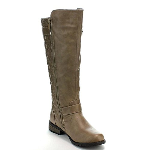 (Forever Link Mango-21 Lady Boot Taupe 9)