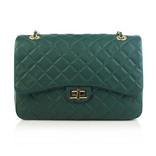 Green Pochette - COSTANZA Borsetta pochette a spalla grande in pelle trapuntata tracolla catena e pelle oro chiaro pelle liscia morbida ispirata Chanel (dark green)