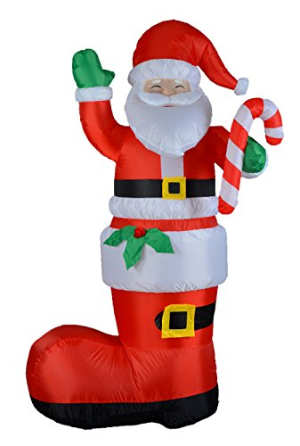 Outdoor Lighted Santa Boots in US - 2