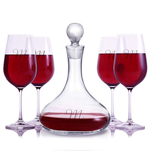 (Personalized Crystal Mercury Wine Carafe Decanter & 4 Crystal Stemmed Wine Glasses By Crystalize Engraved & Monogrammed - Great Gift for Mother's Day, Weddings and)