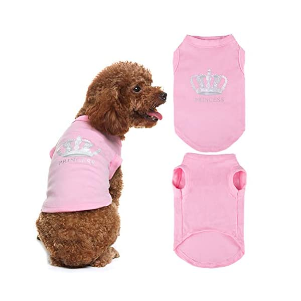 EXPAWLORER Princess Fashion Pet T-Shirt Small Dog Cat Vest Clothes Puppy Costumes for Chihuahua Yorkshire Terrier Pink S