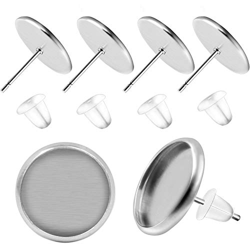 BronaGrand 50 Pieces Stainless Steel Stud Silver Earring Cabochon Setting Post Cup for 12mm and 50 Pieces Clear Rubber Earring Safety Backs ()