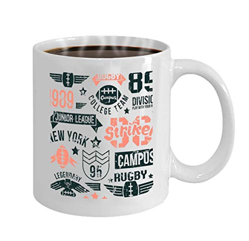 Ceramic Coffee White Mug (11 Ounce) badges set college rugby team retro vintage style g