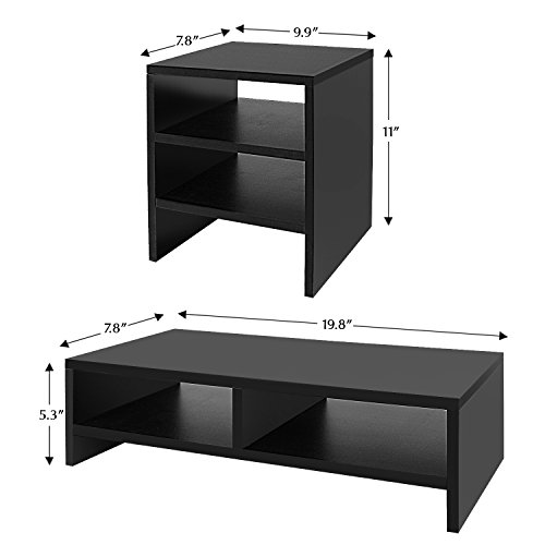 Jerry & Maggie - Wood Monitor Stand - 2 Parts Combination - Modern Dresser Shelf Unit Storage Desk Organizer Computer Stand Shelving - 2 Parts Multi Function Black