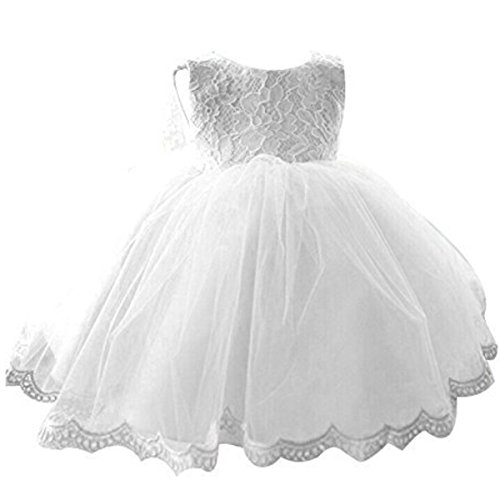 NNJXD Girls' Tulle Flower Princess Wedding Dress For Toddler and Baby Girl White 3-4 Years