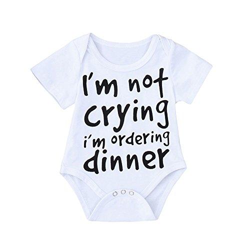 Emimarol Infant Baby Boys Girls Short Sleeve Letter Print Romper Bodysuit Summer Outfit Clothes -