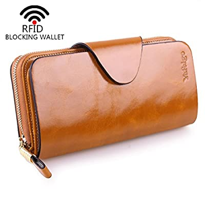 Yafeige Large Luxury Women's RFID Blocking Tri-fold Leather Wallet Zipper Ladies Clutch Purse