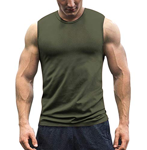 COOFANDY Men's Workout Tank Top Sleeveless Muscle Shirt Cotton Gym Training Bodybuilding Tee Army Green ()