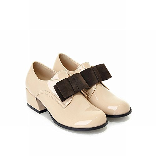 Show Shine Womens Sweet Assorted Colors Bows Low Chunky Heel Shoes Beige gnmO5sV