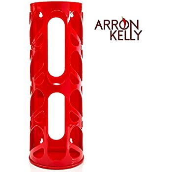Arron Kelly Oval Organizer Wall Mounting Plastic Bag Holder and Dispenser, Red