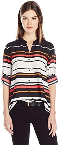 Calvin Klein Women's Plus Size Printed Crew Neck Roll Sleeve Blouse