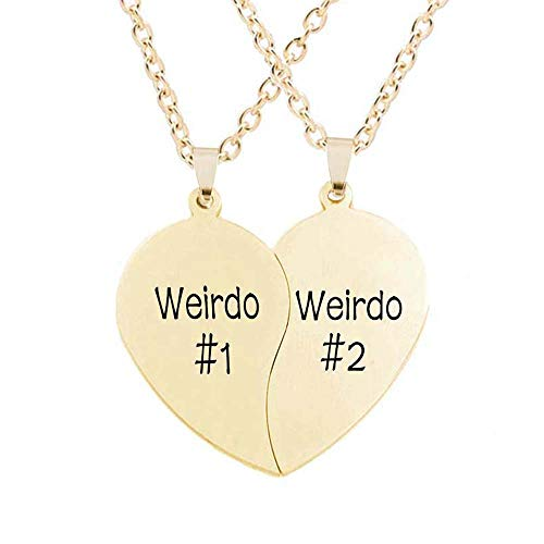 MJartoria Best Friend Necklaces BFF Necklaces for 2 Split Heart Weirdo 1 Weirdo 2 Best Friends Forever Pendant Friendship Set (Weirdo-Golden)
