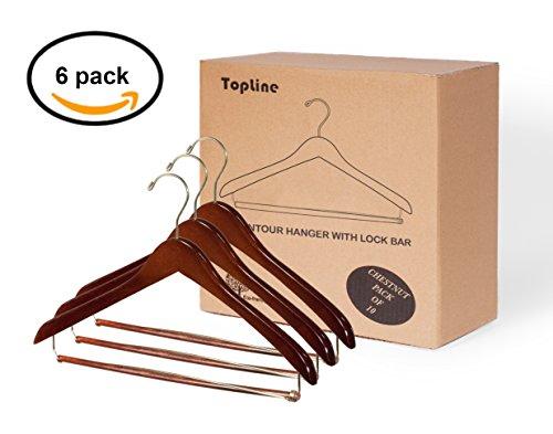 Topline Classic Wood Contoured Suit Hanger Locking Bar - Chestnut Finish (6 Pack)