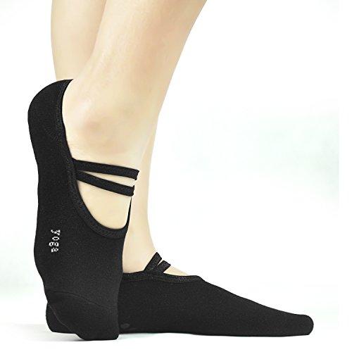 Yoga Socks 3 Pack Non Slip Skid Pilates Socks with Grips Cotton,Elutong Fitness Ballet Barre Dance for Women Girl