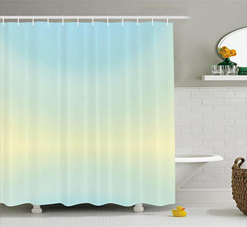 - Ambesonne Teal Shower Curtain, Defocused Abstract Design in The Center Blurred Color Elements Sky Blue Like Artwork, Fabric Bathroom Decor Set with Hooks, 75 Inches Long, Baby Blue